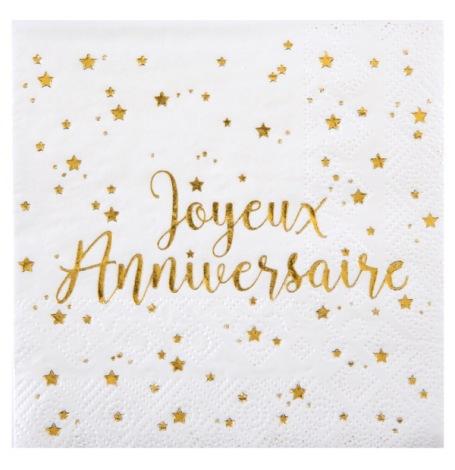 Petites Serviettes papier Joyeux Anniversaire Or (x20)| Hollyparty