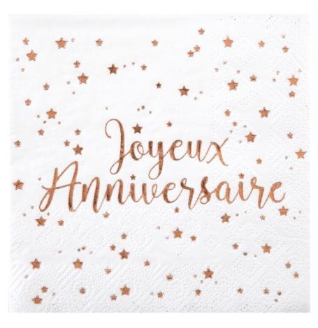 Petites Serviettes papier Joyeux Anniversaire Rose Gold (x20)| Hollyparty