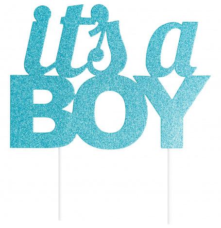 Pic à gâteaux It's a Boy Bleu Pailleté | Hollyparty