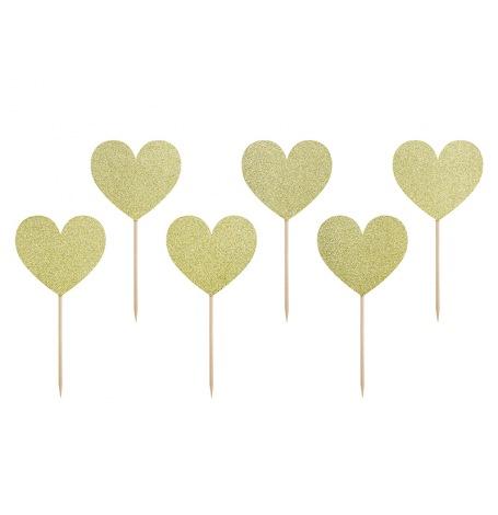 Pics à Cupcake Décoratif Coeur Or Pailleté (x6)| Hollyparty