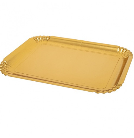 Plateaux rectangle plastique métallisé Or (x2)| Hollyparty