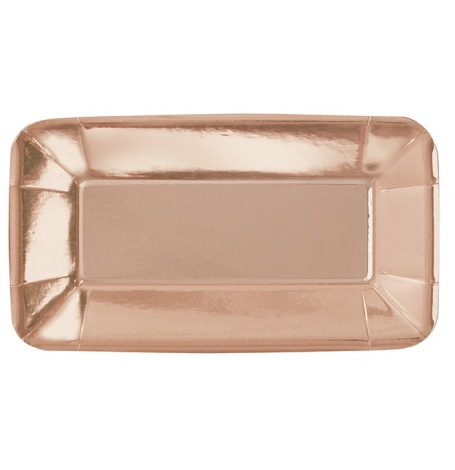Plats rectangle en carton métallisé Rose Gold (x8)| Hollyparty