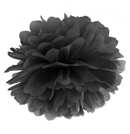Pompon Fleur de Papier en soie à suspendre Noir| Hollyparty