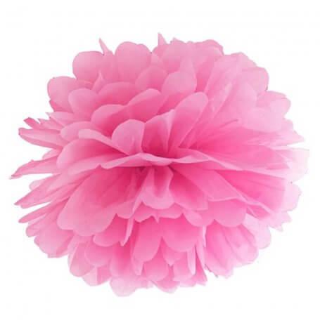 Pompon Fleur de Papier en soie à suspendre Rose Fuschia| Hollyparty