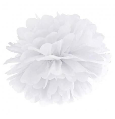 Pompons Fleur de Papier en soie à suspendre Blanc| Hollyparty