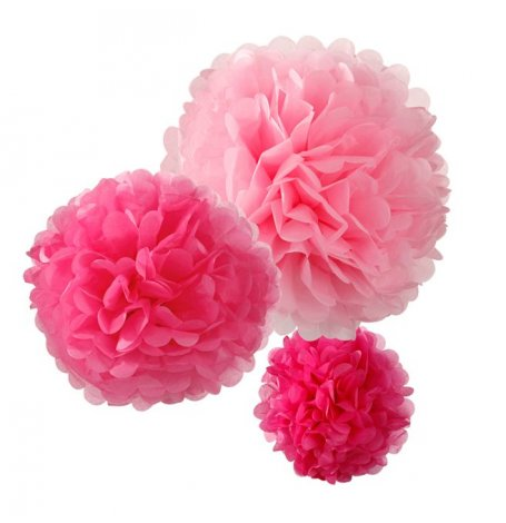 Pompons Rose Fuschia et Rose Pastel (x3)| Hollyparty