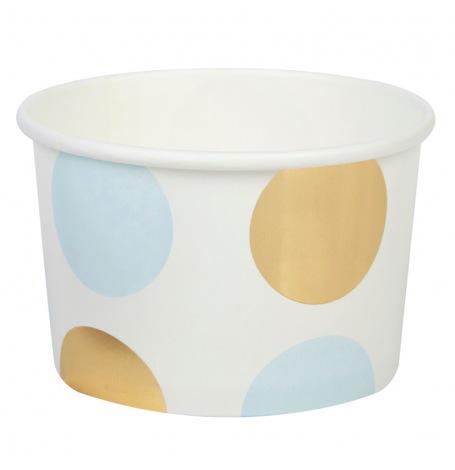 Pots à glace à pois bleu et or (x8)| Hollyparty