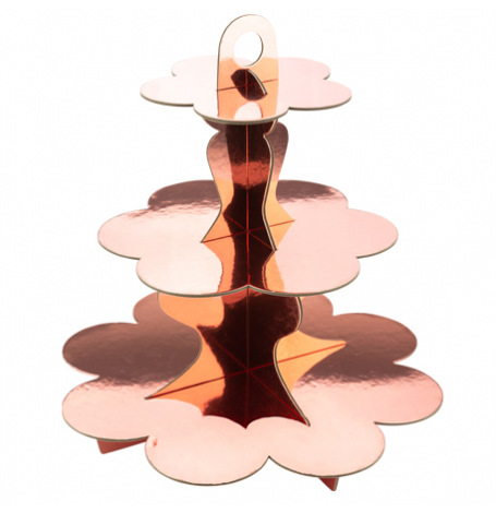 Présentoir 3 étages en carton Rose Gold métallisé 34 cm | Hollyparty
