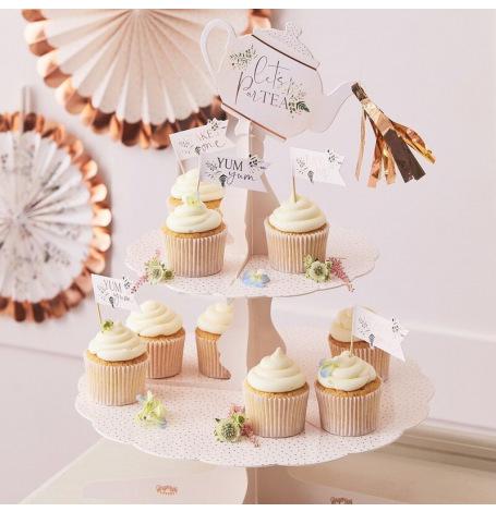 Présentoir à Cupcake Pois Rose Gold 3 étages| Hollyparty