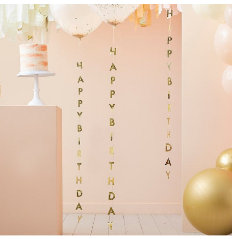 Queues de ballons Happy Birthday Or (x5)  Hollyparty