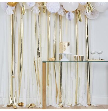 Rideau Backdrop à frange Blanc & Or | Hollyparty