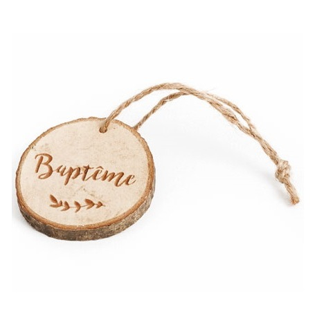 Rondins en bois Baptême avec ficelle (x4)| Hollyparty