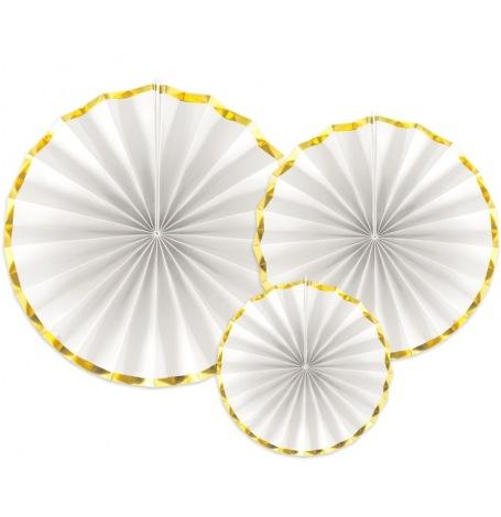 Rosaces en papier Blanc & Or (x3)| Hollyparty