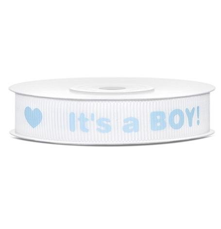 Ruban Satin It's a Boy Bleu (12 mm)| Hollyparty