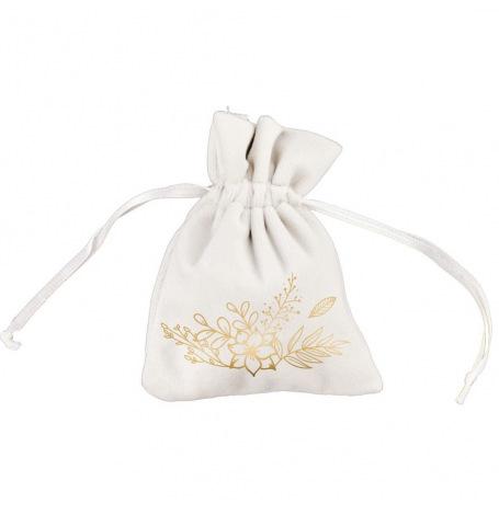 Sachet de 4 contenants à dragées velours Fleuris Or 8x10cm| Hollyparty