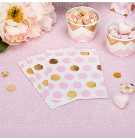 Sachets à bonbon papier pois Rose et Or (x25)| Hollyparty