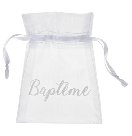 Sachets à dragées Organdi Baptême Blanc (x6)| Hollyparty
