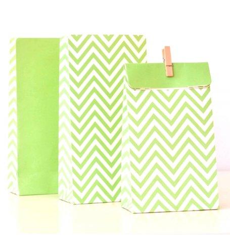 Sacs Cadeaux Chevron Vert (x12)| Hollyparty