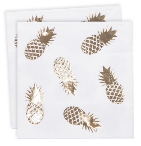 Serviettes en papier Ananas Or (x16)| Hollyparty