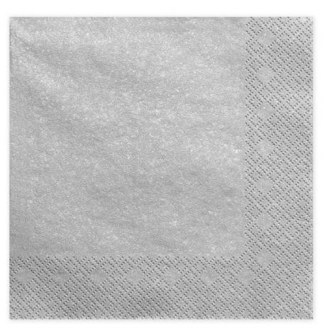 Serviettes en papier Argent Métal Uni (x20)| Hollyparty