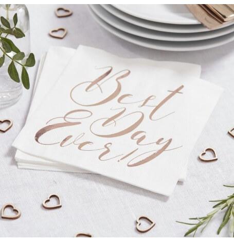 Serviettes en papier Best Day Ever Rose Gold (x20)| Hollyparty