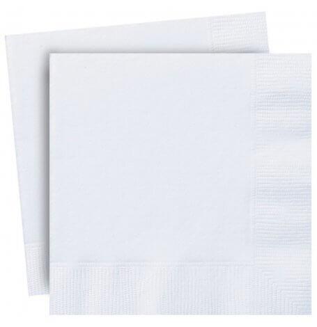 Serviettes en papier Blanc Uni (x20)| Hollyparty