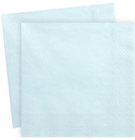 Serviettes en papier Bleu Pastel Uni (x20)| Hollyparty