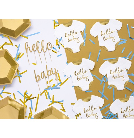 Serviettes en papier Body Hello Baby Blanc & Or (x20)