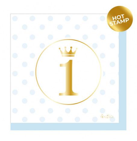 Serviettes en papier Chevron Bleu & Or (x16)  Hollyparty