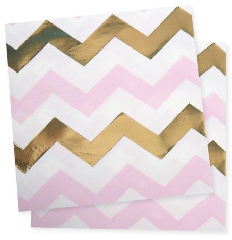 Serviettes en papier Chevron Rose & Or (x16)| Hollyparty