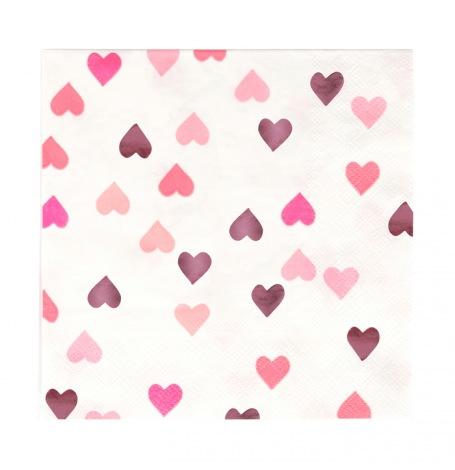 Serviettes en papier Coeur Rose Métallisé (x16)| Hollyparty