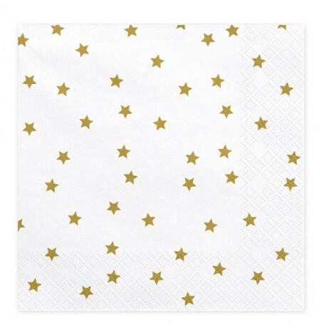 Serviettes en papier Etoile Blanc & Or (x20)| Hollyparty