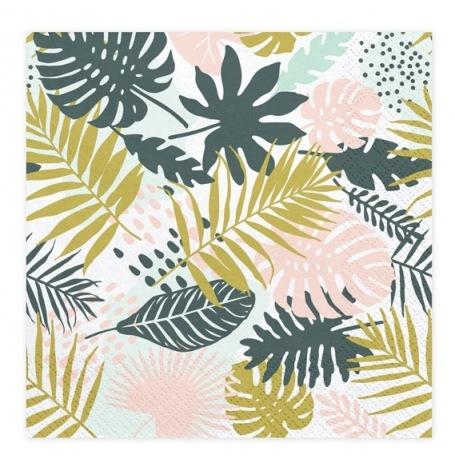 Serviettes en papier Feuillage Aloha (x20)  Hollyparty