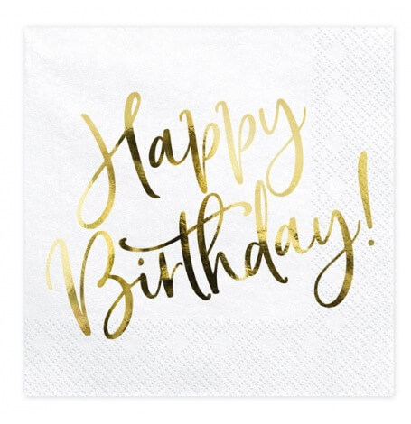 Serviettes en papier Happy Birthday Blanc & Or (x20)| Hollyparty