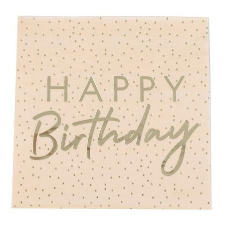Serviettes en papier Happy Birthday Pêche & Or (x16)| Hollyparty