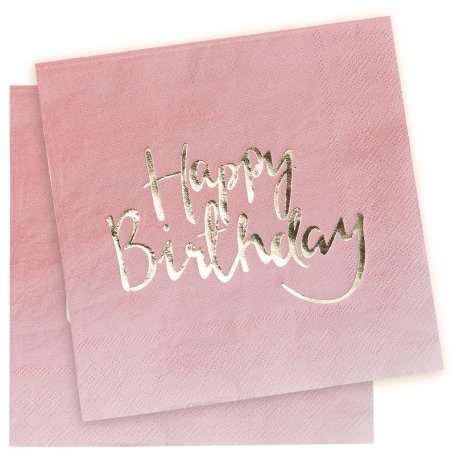 Serviettes en papier Happy Birthday Rose et Or (x20)| Hollyparty