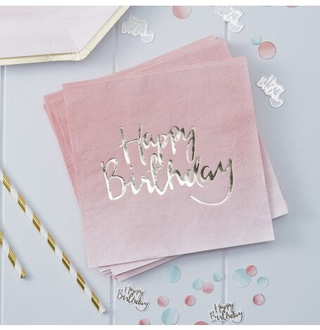 Serviettes en papier Happy Birthday Rose et Or (x20)