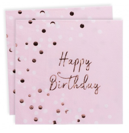 Serviettes en papier Happy Birthday Rose Gold (x16)| Hollyparty