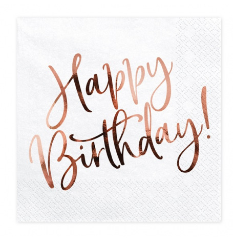 Serviettes en papier Happy Birthday Rose Gold (x20)| Hollyparty