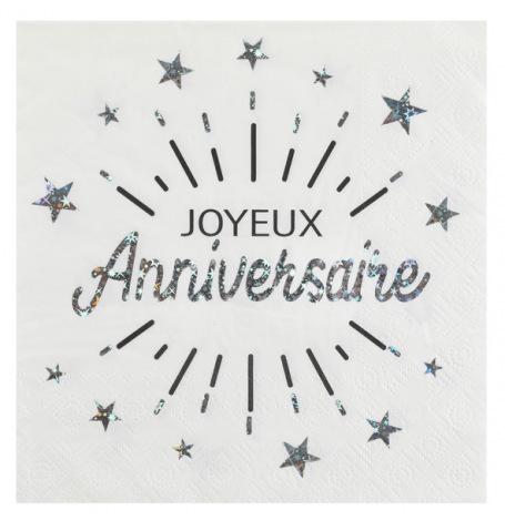 Serviettes en papier Joyeux Anniversaire Argent (x10)| Hollyparty