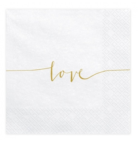 Serviettes en papier Love Blanc & Or (x20)| Hollyparty