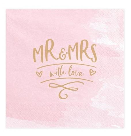Serviettes en papier MR & Mrs Rose & Or (x20)  Hollyparty