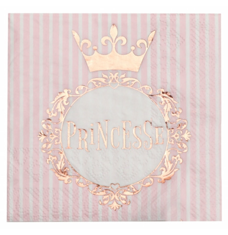 Serviettes en papier Princesse Rose & Or (x16)| Hollyparty