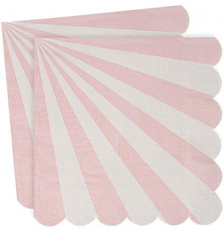 Serviettes en papier à Rayure Rose Meri Meri (x20)| Hollyparty