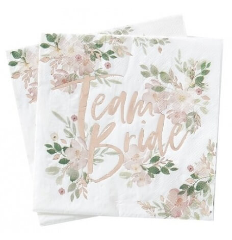Serviettes en papier Team Bride Floral Rose Gold (x16)| Hollyparty