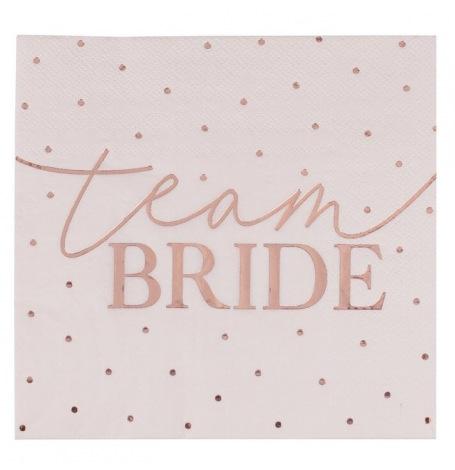 Serviettes en papier Team Bride Rose Gold (x16)| Hollyparty