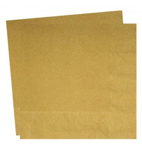 Serviettes en papier Uni Or (x20)  Hollyparty