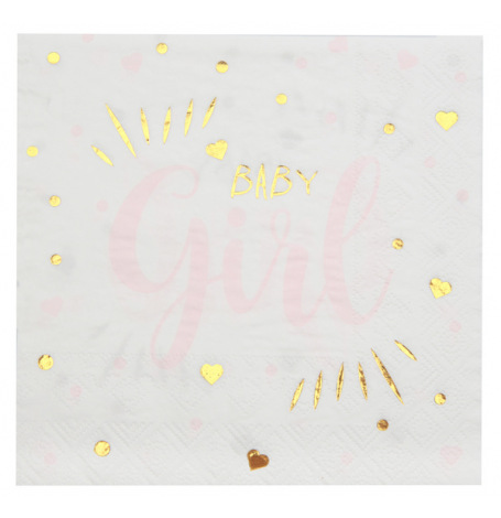 Serviettes papier Baby Girl (x20)| Hollyparty
