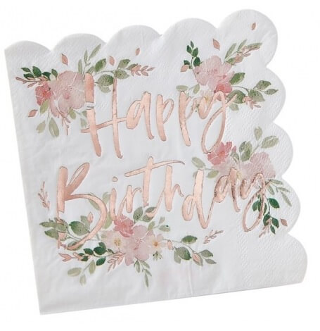 Serviettes papier Fleur Happy Birthday Rose Gold (x16)| Hollyparty