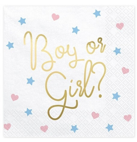 Serviettes Papier Gender Reveal Boy or Girl ? (x20)| Hollyparty